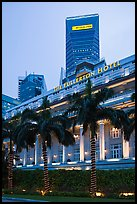 Fullerton Hotel and Maybank tower at dusk. Singapore