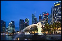 Merlion fountain and skyline at dusk. Singapore ( color)