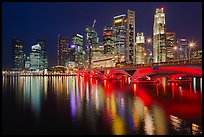 Bridge and Singapore skyline at night. Singapore (color)