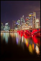 Bridge and city skyline at night. Singapore (color)