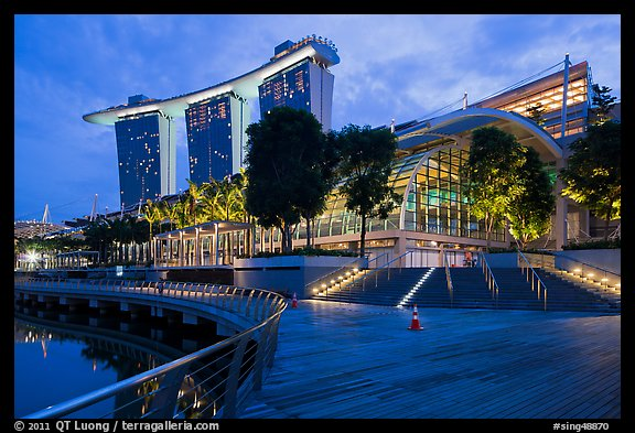 Marina Bay Sands shoppes and hotel, twilight. Singapore (color)