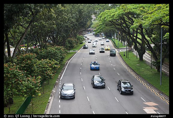 Expressway bordered by trees. Singapore (color)