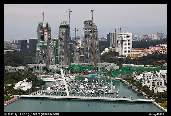 Marina and towers under construction. Singapore (color)