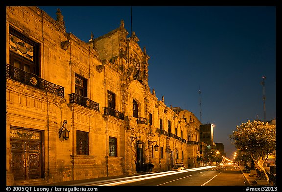 Palacio del Gobernio (Government Palace) by night. Guadalajara, Jalisco, Mexico (color)
