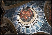 Dome of the chapel of Hospicios de Cabanas featuring The Man of Fire by Jose Clemente Orozco. Guadalajara, Jalisco, Mexico ( color)