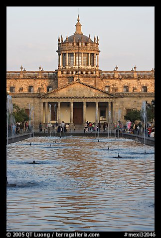 Basin and Hospicios de Cabanas at sunset. Guadalajara, Jalisco, Mexico (color)