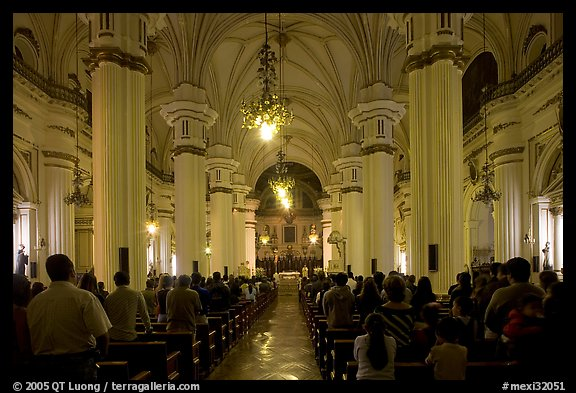 Evening mass in the Cathedral. Guadalajara, Jalisco, Mexico (color)