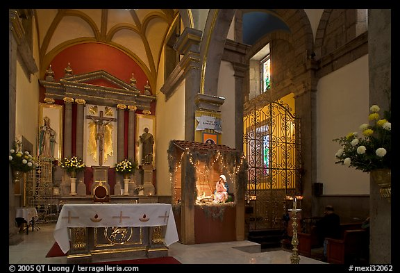 Interior of church with altar and nativity, Tlaquepaque. Jalisco, Mexico (color)