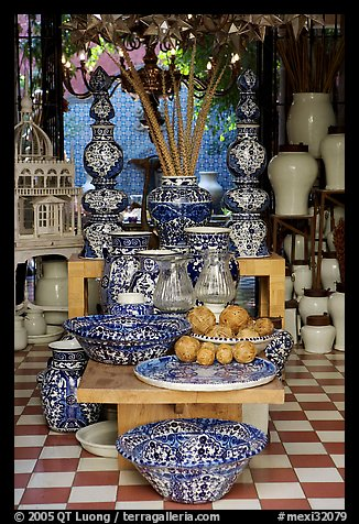 Ceramic pieces for sale in a gallery, Tlaquepaque. Jalisco, Mexico (color)