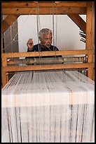 Man operating a weaving machine, Tlaquepaque. Jalisco, Mexico ( color)