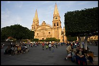 Plaza de los Laureles, planted with laurels, and Cathedral. Guadalajara, Jalisco, Mexico (color)