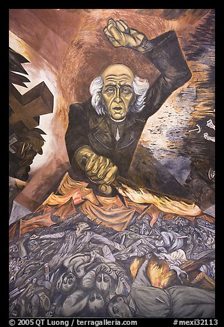 Portrait of Miguel Hidalgo painted by muralist Jose Clemente Orozco in the Government Palace. Guadalajara, Jalisco, Mexico (color)