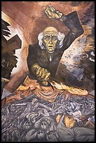 Portrait of Miguel Hidalgo painted by muralist Jose Clemente Orozco in the Government Palace. Guadalajara, Jalisco, Mexico ( color)