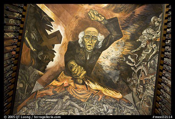 Stairway ceiling with portrait of angry Miguel Hidalgo by  Jose Clemente Orozco. Guadalajara, Jalisco, Mexico (color)