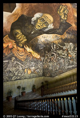 Stairway roof with portrait of  Miguel Hidalgo by  Jose Clemente Orozco in the Palacio del Gobernio. Guadalajara, Jalisco, Mexico (color)