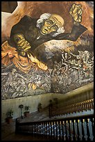 Stairway roof with portrait of  Miguel Hidalgo by  Jose Clemente Orozco in the Palacio del Gobernio. Guadalajara, Jalisco, Mexico ( color)