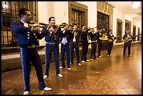 Band of mariachi musicians at night, Tlaquepaque. Jalisco, Mexico ( color)