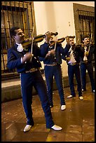 Mariachi musicians at night, Tlaquepaque. Jalisco, Mexico
