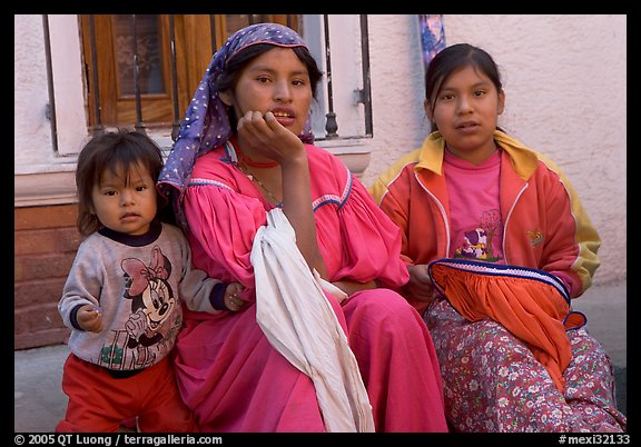 Woman in tradtional costume and girls, Tonala. Jalisco, Mexico (color)