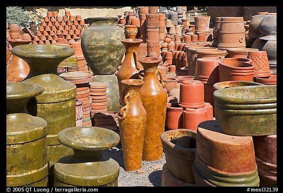 A variety of clay pots for sale, Tonala. Jalisco, Mexico (color)