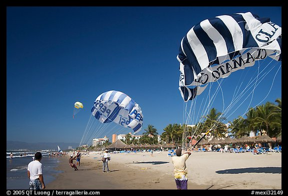 Parasails inflated on beach, Nuevo Vallarta, Nayarit. Jalisco, Mexico (color)