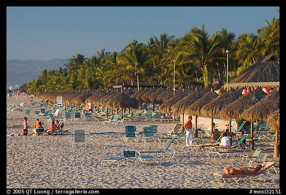 Beach front with sun shades and palm trees, Nuevo Vallarta, Nayarit. Jalisco, Mexico (color)