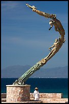 Sculpture called Los Milenios by Fernando Banos on waterfront, Puerto Vallarta, Jalisco. Jalisco, Mexico ( color)