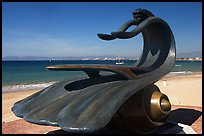 Sculpture by Bustamante on the seaside walkway with beach in the background, Puerto Vallarta, Jalisco. Jalisco, Mexico (color)
