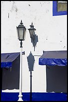 Wall with lamps, blue shades and blue painting, Puerto Vallarta, Jalisco. Jalisco, Mexico (color)