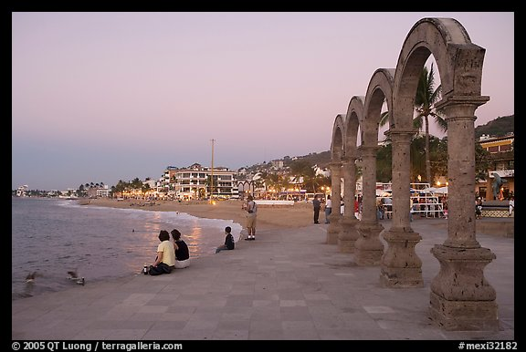 Arches on the Malecon at dusk, Puerto Vallarta, Jalisco. Jalisco, Mexico (color)