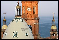Templo de Guadalupe Cathedral and ocean, early morning, Puerto Vallarta, Jalisco. Jalisco, Mexico ( color)