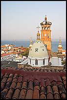 Red tile roof, Templo de Guadalupe Cathedral, and ocean early morning, Puerto Vallarta, Jalisco. Jalisco, Mexico ( color)