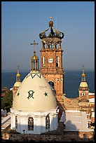 Templo de Guadalupe and ocean, morning, Puerto Vallarta, Jalisco. Jalisco, Mexico (color)