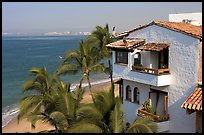 House, palm trees and ocean, Puerto Vallarta, Jalisco. Jalisco, Mexico (color)