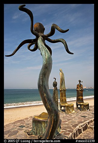 Sculpture on Circle of the Sea next to the beach, Puerto Vallarta, Jalisco. Jalisco, Mexico (color)