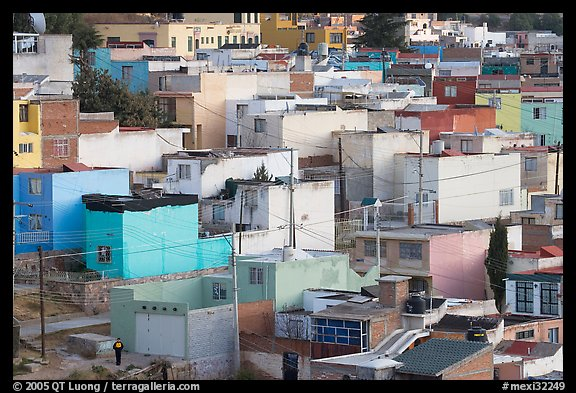 Neighborhood of houses painted in bright colors. Zacatecas, Mexico (color)