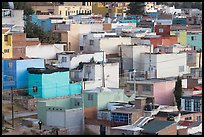 Neighborhood of houses painted in bright colors. Zacatecas, Mexico
