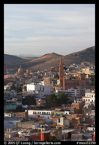 View of downtown with Temple of Fatina, morning. Zacatecas, Mexico (color)