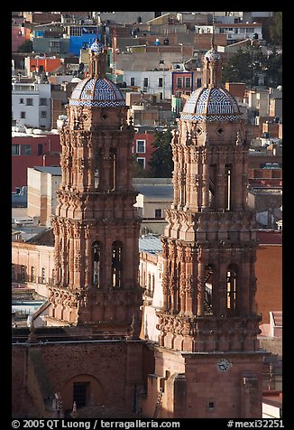 Twin towers of the Cathedral in Churrigueresque style. Zacatecas, Mexico (color)