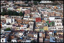 Colorful houses downtown seen from above. Zacatecas, Mexico