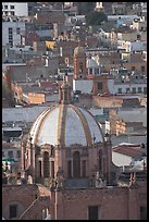 Dome of the Cathedral and rooftops. Zacatecas, Mexico