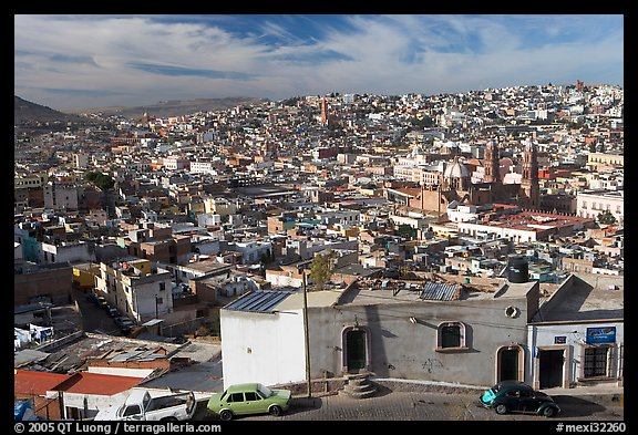 Panoramic view of the town from Paseo La Buffa. Zacatecas, Mexico (color)