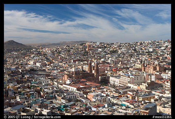 Panoramic view of the town from Paseo La Buffa, morning. Zacatecas, Mexico (color)