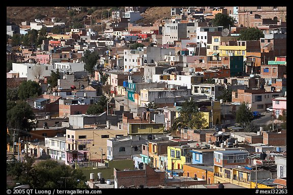 Neighborhood vith colorful houses seen from above. Zacatecas, Mexico (color)