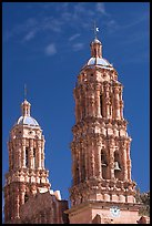Churrigueresque towers of the Cathedral. Zacatecas, Mexico (color)