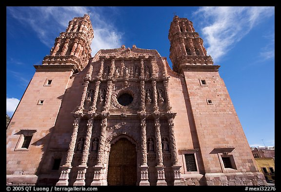 Facade of Cathdedral laced with Churrigueresque carvings, afternoon. Zacatecas, Mexico (color)