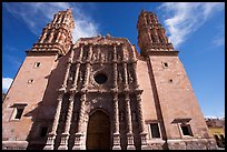 Facade of Cathdedral laced with Churrigueresque carvings, afternoon. Zacatecas, Mexico ( color)