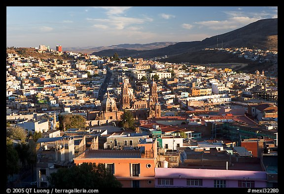 Panoramic view of town  from near the Teleferico, late afternoon. Zacatecas, Mexico (color)