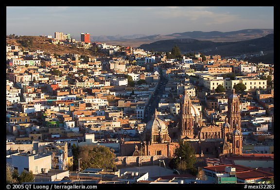 Panoramic view of Cathedral and town, late afternoon. Zacatecas, Mexico (color)