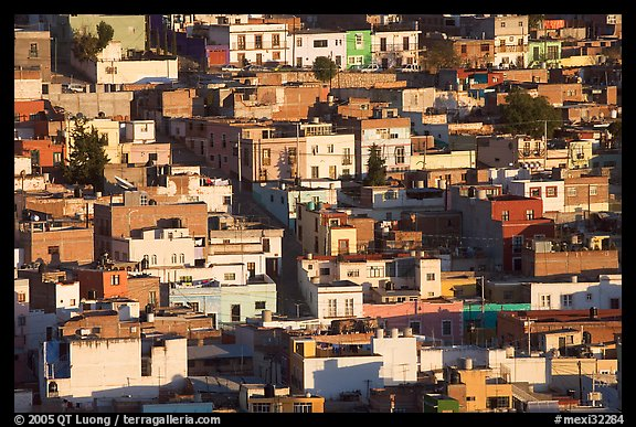 Houses on hill, late afternoon. Zacatecas, Mexico (color)